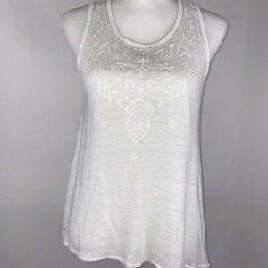 Michael Kors White Sleeveless Top Shiny Sequines